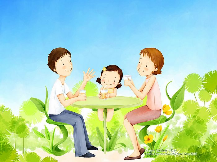 Lovely_illustration_of_Happy_family_at_tea_time_wallcoo.com